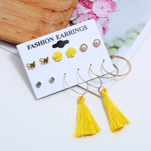 Exquisite 6 Pair/Set Fashion Yellow Flower Crystal Imitation Pearls Butterfly Stud Earrings & Tassel For Women Jewelry