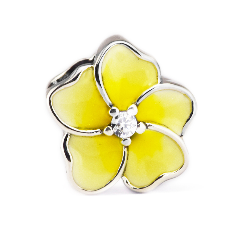 Fits for Pandora Charms Bracelets Orchid Beads with Clear CZ & Yellow Enamel 100% 925 Sterling Silver Jewelry Free Shipping ...