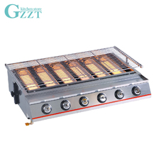 6 Burners Barbecue Grill Commercial Household Gas BBQ Grill Glass Shield Natural Gas Barbecue Outdoor Picnic Garden BBQ Tool