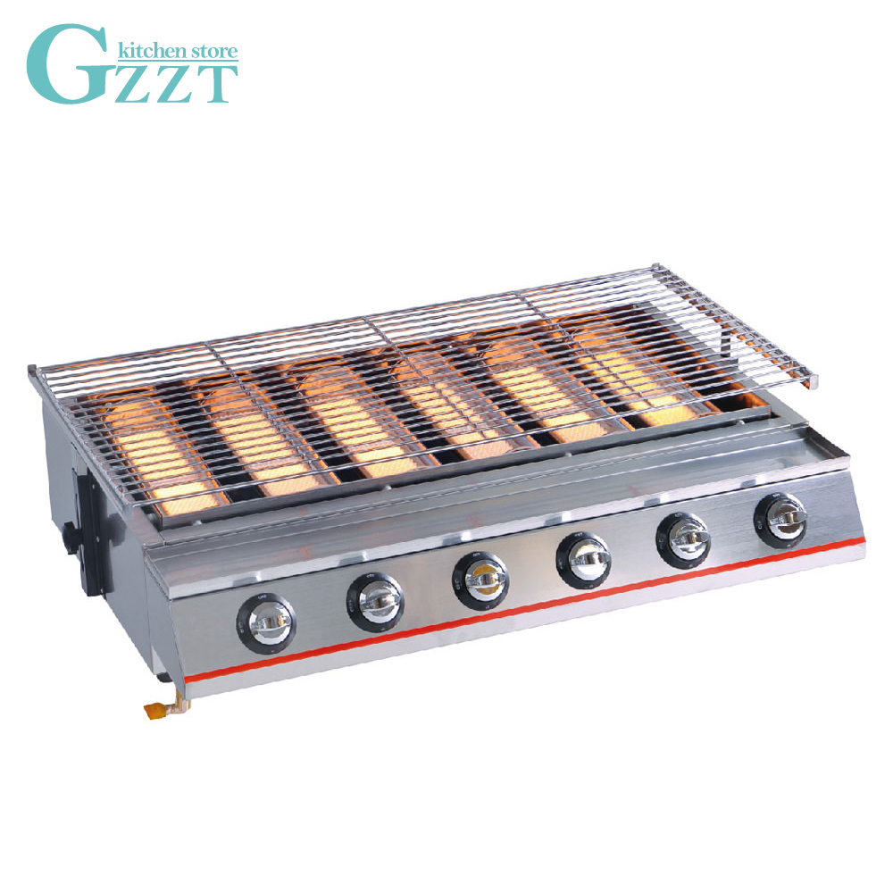 Commercial Household Big Size 6 Burners Gas BBQ Grill Glass Shield Natural Gas Barbecue Outdoor Picnic