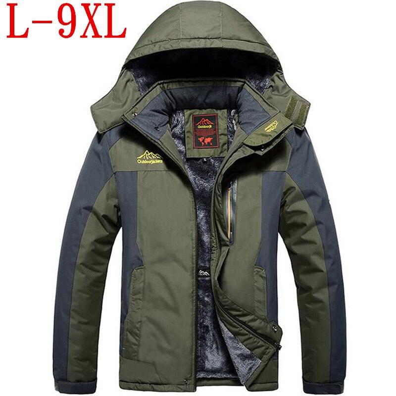 Новинка 2017 большой Размеры теплая верхняя одежда зимняя куртка Для мужчин водонепроницаемый ветрозащитный капюшон Для мужчин куртка тепла...