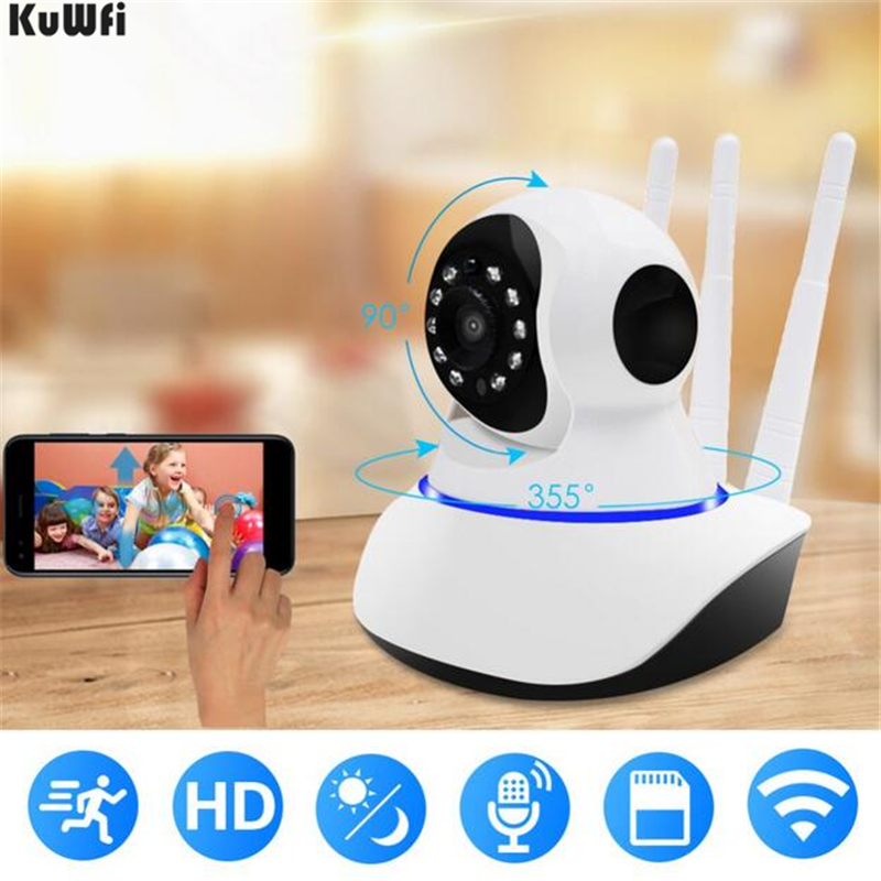 Caméra WiFi KuWFi avec caméra IP de sécurité à Vision nocturne pour la surveillance de la sécurité intérieure à domicile Via caméra de vidéosurveillance panoramique/inclinable/Zoom