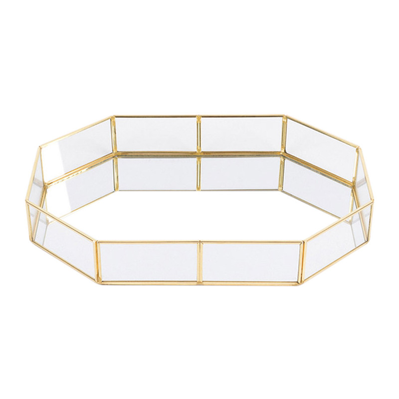 LUDA Nordic Style Glass Copper Geometry Storage Baskets Box Simplicity Style Home Organizer For Jewelry Necklace Dessert Plate