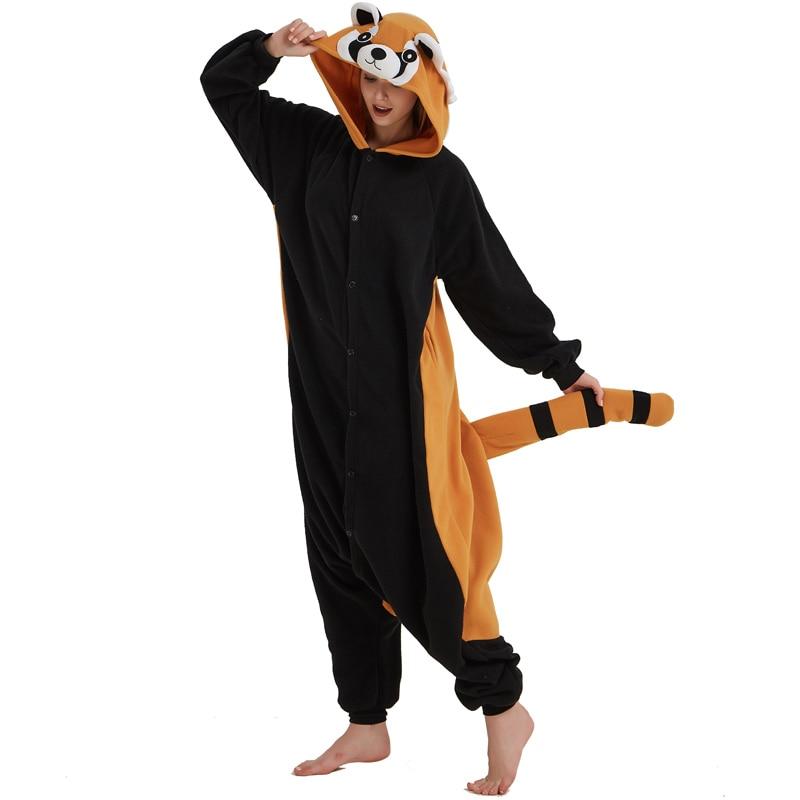 Women Onesie Raccoon Pajama Funny Cute Animal Party Suit Unisex Adult Winter Brown Black Jumpsuit Warm Sleep Wear Couple Pyjamas (5)