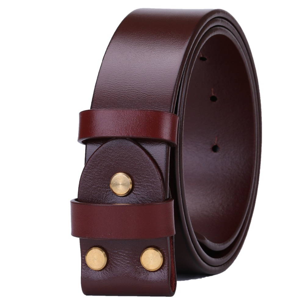 Marrón cinturones para hombres sin hebilla Lisa cinturón hombre de lujo real 100% cuero genuino vaca plena flor negro alta calidad superior