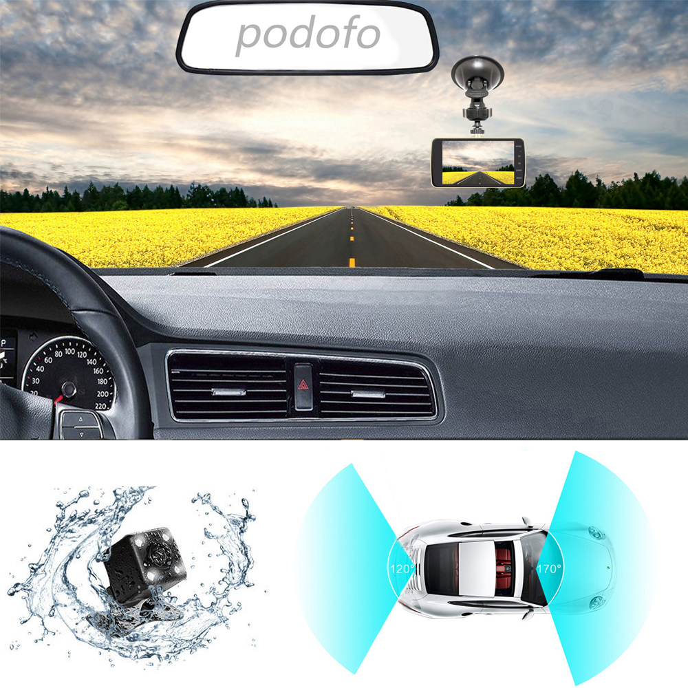 Image 3 - Podofo Novatek 96658 4.0 Inch IPS Screen Dual Lens Car DVR Camera Full HD 1080P Vehicle Video Recorder Dash Cam-in DVR/Dash Camera from Automobiles & Motorcycles