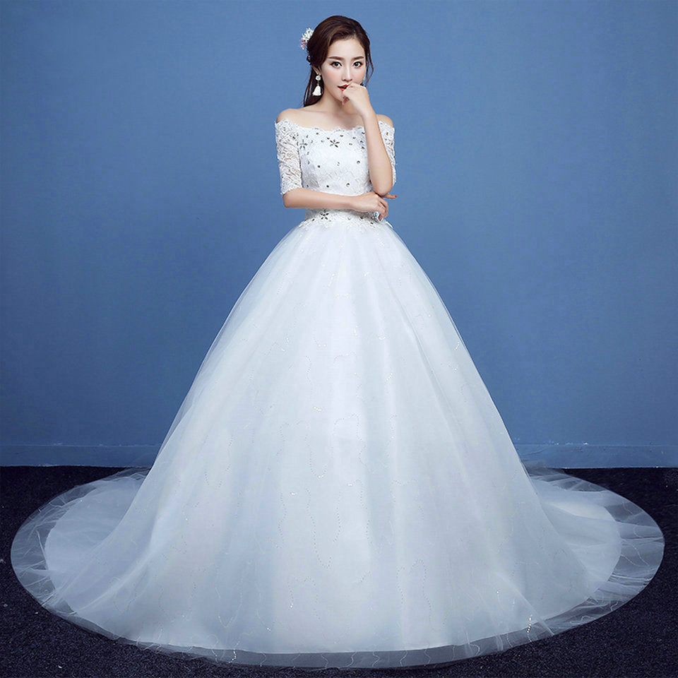 Fashion White Wedding Dress Long 2018 New Plus Size Ivory Wedding ...