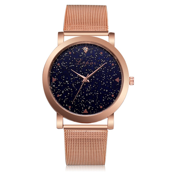 Lvpai Brand Women's Luxury Starry Steel Ladies Rose Case Casual Bracelet Quartz Watches  5