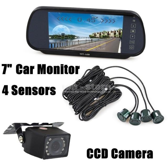DIYKIT 7 Дюймов Заднего Вида Монитор Зеркала Автомобиля + Видео Парковка радар + ИК Ночного Видения Камеры Автомобиля Датчик Парковки Помощи Системы