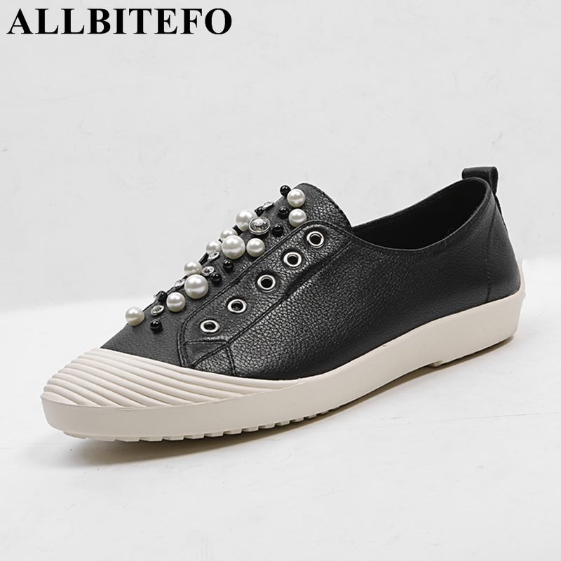 ALLBITEFO 2018 new spring genuine leather high quality women flats casual and comfortable flat shoes girls shoes Flattie xiuteng 2018 spring genuine leather women candy color flats soft rubber sole ladies casual high quality beach walking shoes