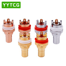 YYTCG 4pcs RCA Female Socket Chassis CMC Connector Rhodium Plated Copper Jack 32mm Copper Plug Amp HiFi White Red Audio Jacks