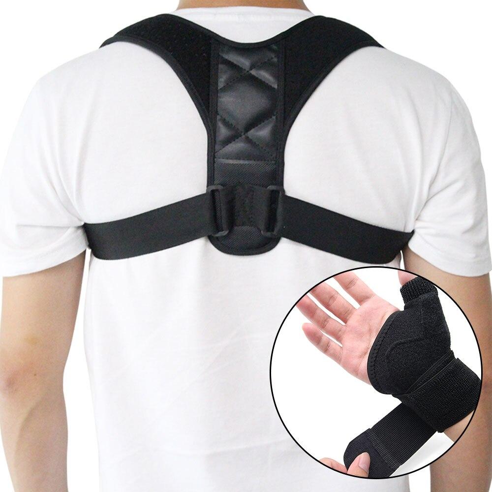 Ajustable volver Corrector de postura + palma de mano muñequera la  clavícula de la columna de espalda Lumbar impide encorvado lesión ayuda 5c9e30da1553