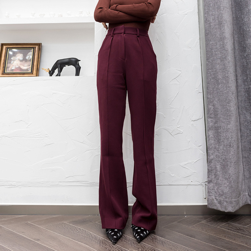Riokeke La 2018 Clásico Pantalones Elegante Ancho Alta Casual Sólido De Cintura Mujeres Recto Delgado Las Tall Pierna qwAraqxI