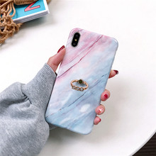 Finger Ring Kickstand Phone Case For iPhone 6 6S 7 8 Plus X XS MAX XR Fashion Marble Soft IMD Glossy Cover Shells Bag