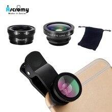 Ascromy 3-in-1 Phone Camera Lenses Wide Angle Macro Fish Eye Lentes Fo