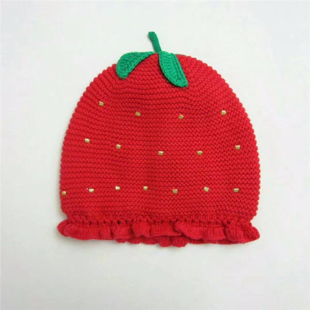 72bc4da4117 Kids Baby Girl Winter Knitted Warm Strawberry Hat Cap Scarf Set ...