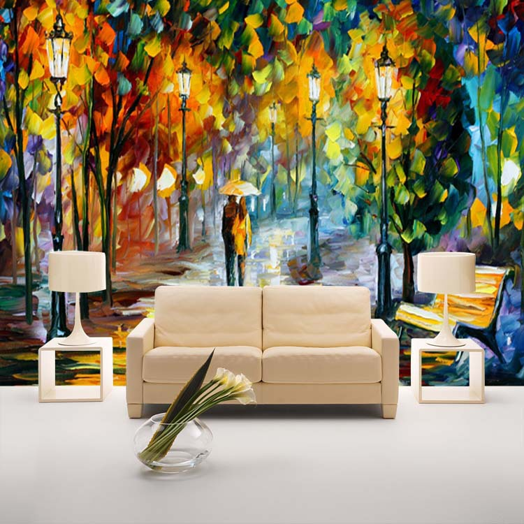 Unique knife painting wallpaper colorful street wall mural for Colourful wallpaper for walls
