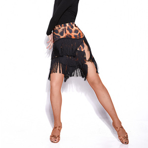 Image 5 - Newest Popular Latin Dance Skirt For Ladies Black Skin Tassel Skirt Women Ballroom Chacha Tango Samba Competitive Costumes I209