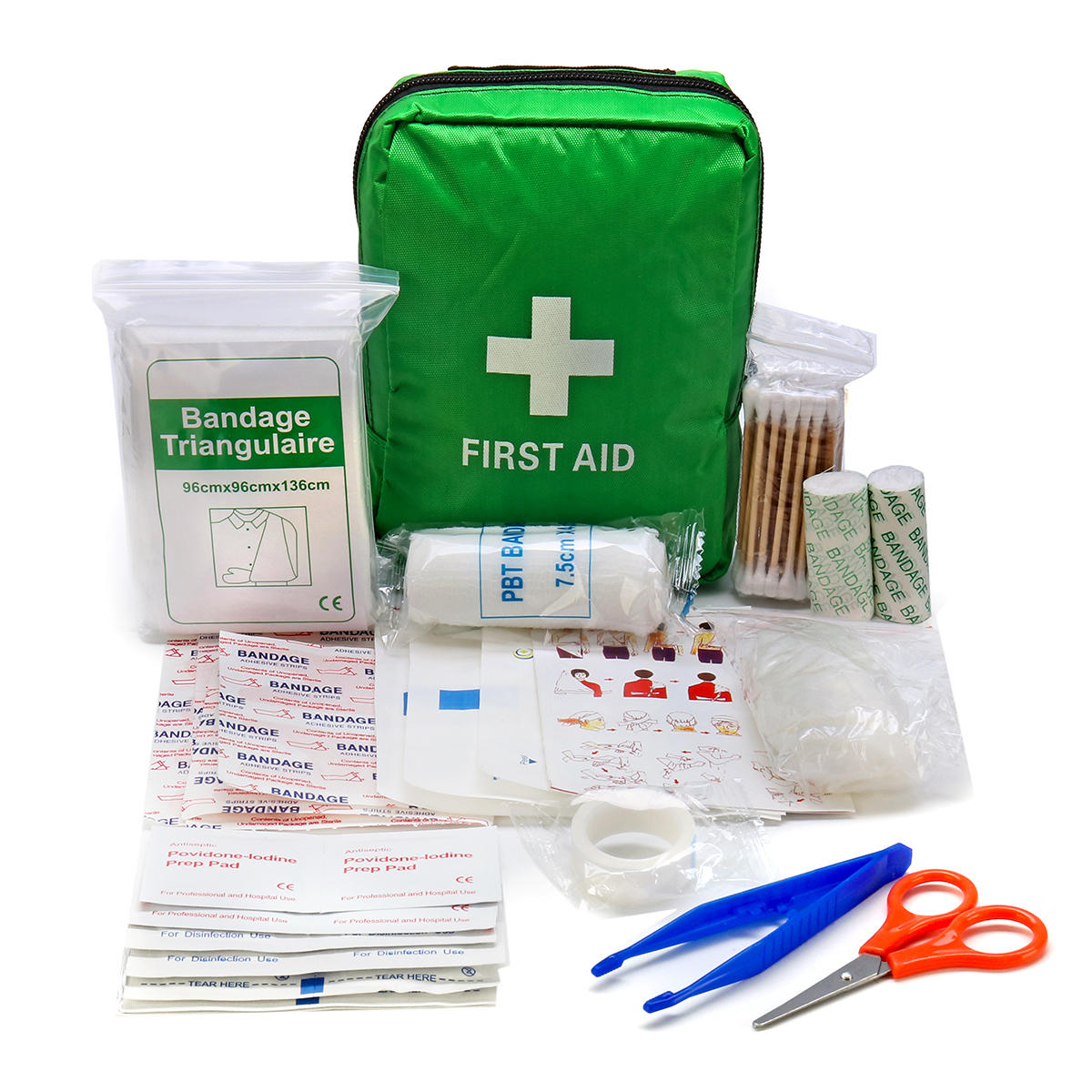 121Pcs Green First Aid Kit Medical Emergency Bag SOS For Outdoor Camping Travelling Scissors Bandage Disposable Gloves