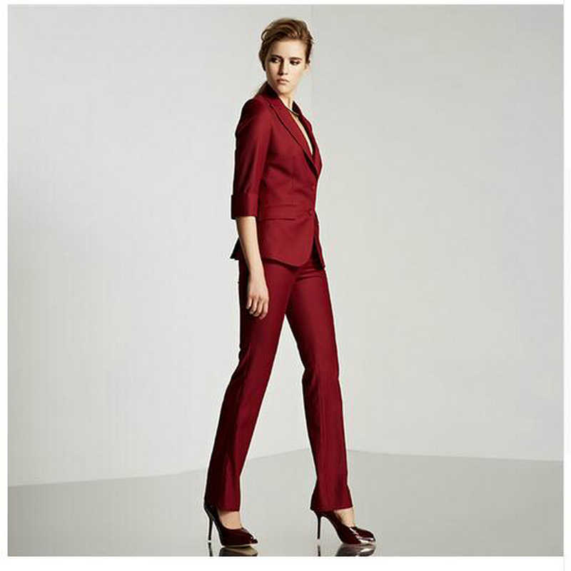 2019 Limited New Formal Women Suit For Office Ladies Business Custom Made Wine Professional Work Wear Clothes (jacket+pants)