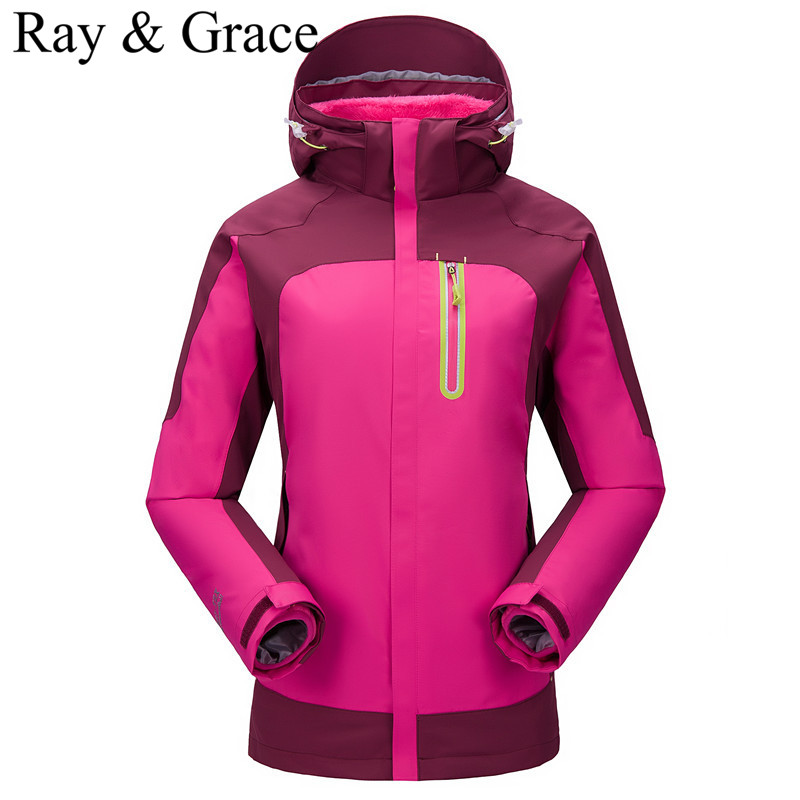 Outdoor Waterproof Sports Outerwear Women Windproof Climbing Hiking Thick Warm Clothes Skiing Jacket Coats Winter Jacket 3 in 1 2015 new outdoor climbing clothes two piece men sports suits coats winter waterproof men s skiing jacket snowboard outerwear