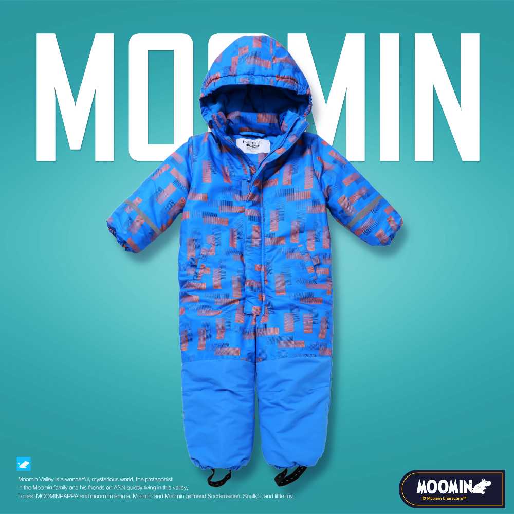 Moomin 2018 NEW ARRIVAL children winter overall waterproof Zipper Fly boy winter overall Geometric warm Loose winter romper overall figl overall