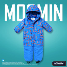 Moomin 2018 NEW ARRIVAL children winter overall waterproof Zipper Fly boy winter overall Geometric warm Loose winter romper(China)