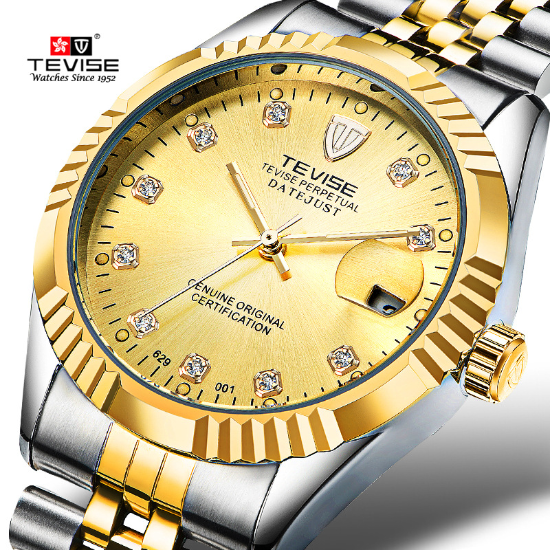 TEVISE Luxury Brand Watch Mechanical Self-Wind Watch Men Business Wristwatches Automatic Watches Men Relogio Masculino 629 tevise men automatic self wind mechanical wristwatches business stainless steel moon phase tourbillon luxury watch clock t805d