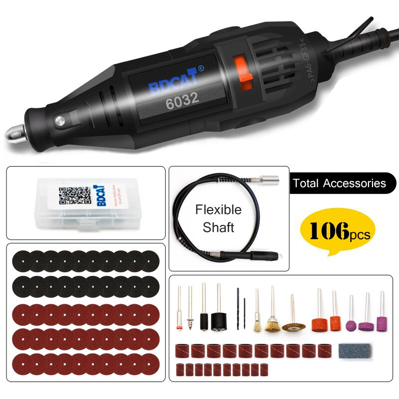 BDCAT  Electric Mini Drill Rotary Tool Polishing Machine Power Tool Variable Speed Engraving Pen With 106pcs Dremel Accessories