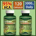 2 x GARRAFAS-3000 mg Diariamente HCA GARCINIA CAMBOGIA-95% Cápsulas da Perda De Peso magro