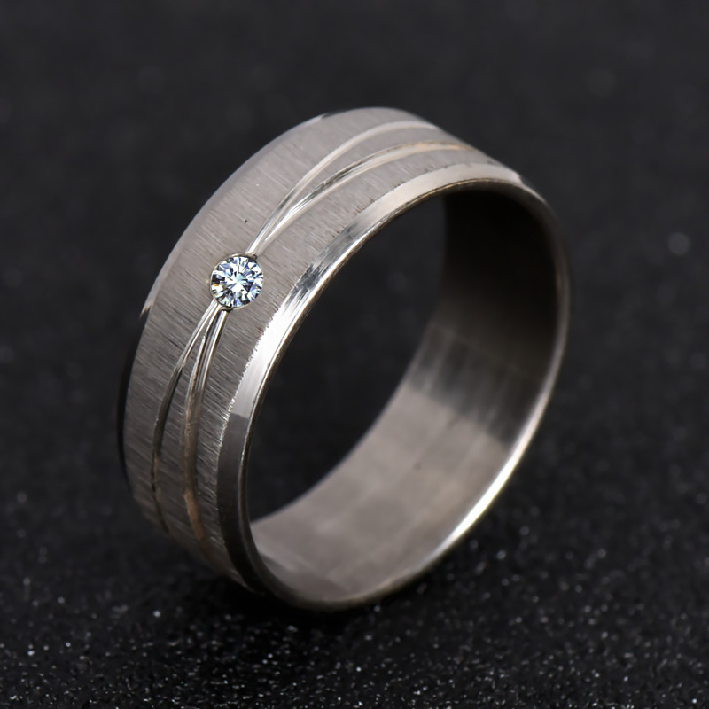 316L Stainless Steel Ring Top Quality Wedding Ring White Crystal For Men Women Fashion Jewelry Never Fade Nj30