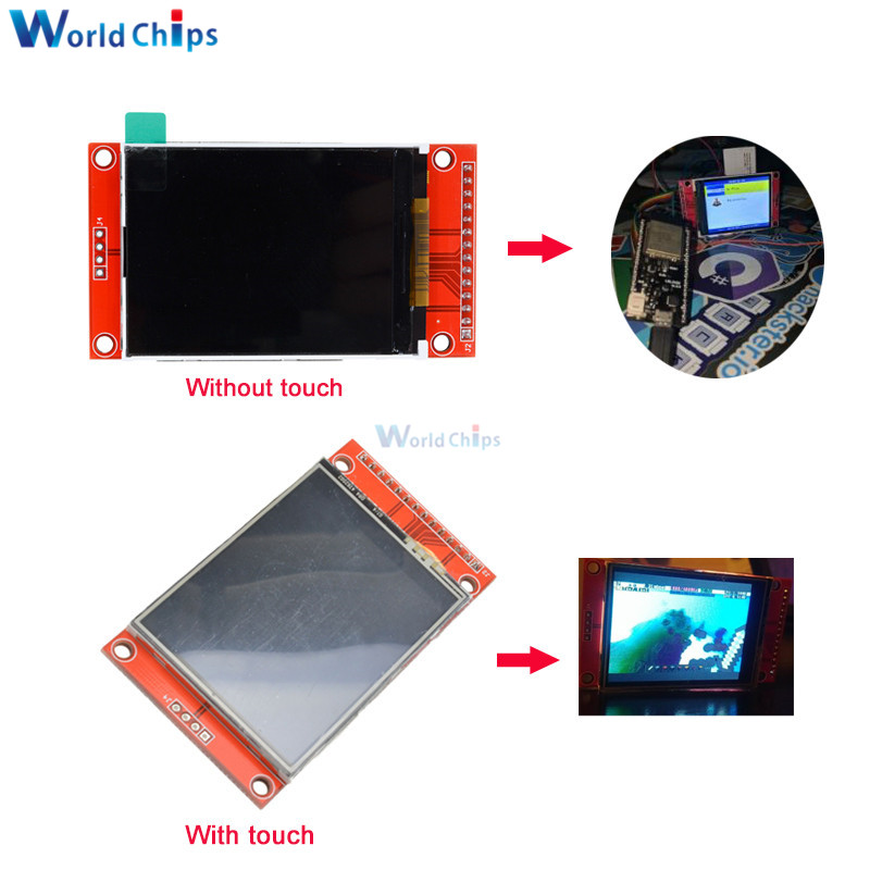 2.4 Inch LCD Display 240x320 SPI TFT ILI9341 White LED For Arduino Oled LCD Serial Port Module 5V/3.3V PCB Adapter Micro SD Card