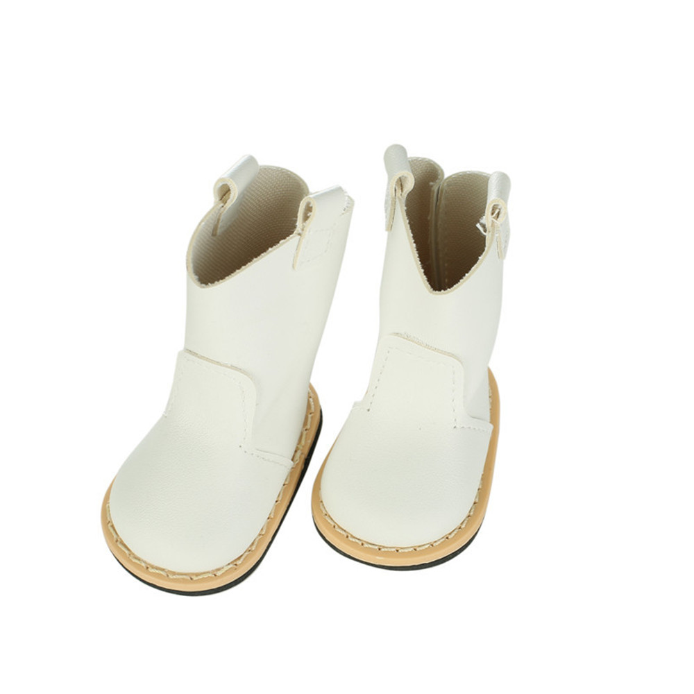 Doll shoes ,White leather Boots doll shoes for 18 inch american girl doll for baby gift DH-4