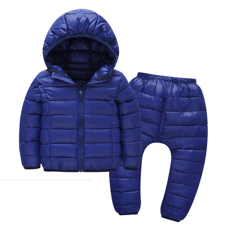 Kids Winter Clothes Sets Baby Boys Hooded Sport Down Jacket Suis Girls Jacket Coat SolidColor Cotton Infant Clothing Set Outwear