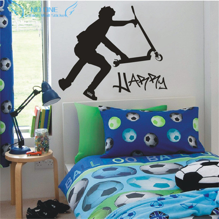 Extra large scooter stunt custom wall decals vinyl stickers home decor stikers for wall decoration kids wall stickers diy in wall stickers from home