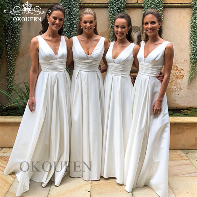 Cheap White A Line   Bridesmaid     Dresses   2019 Deep V Neck Lace Wholesale Price Long Party   Dress   Maid Of Honor For Women