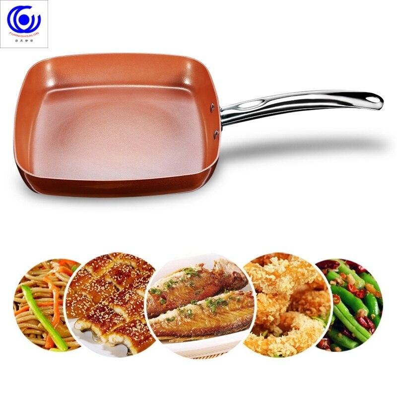 Poêle carrée en cuivre antiadhésive avec revêtement en céramique four allant au lave-vaisselle 4 litres casseroles et poêles