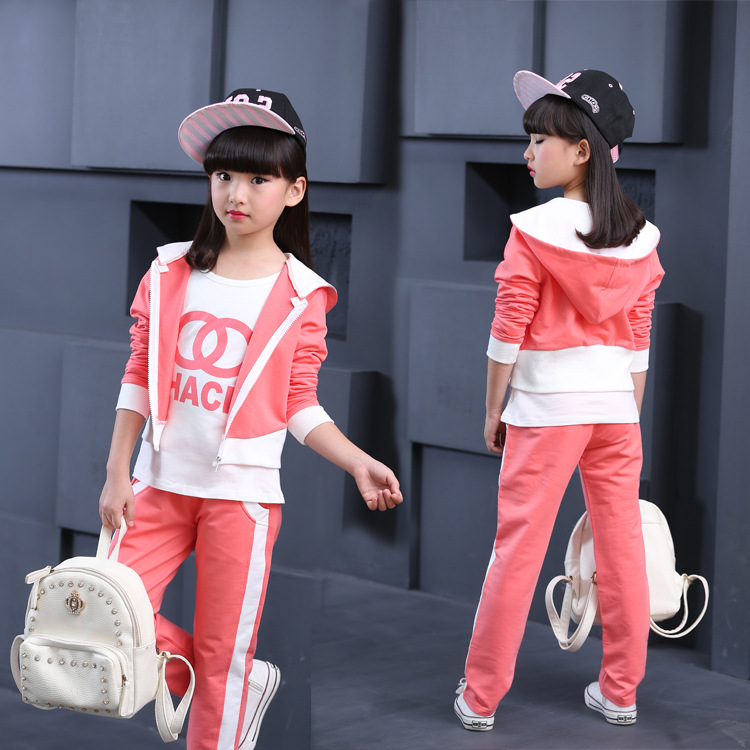 Girls clothes 2017 spring Fall kids clothes sets hello kitty suit jackets hoodies+pants baby set girls sport suit outwear 4-12Y
