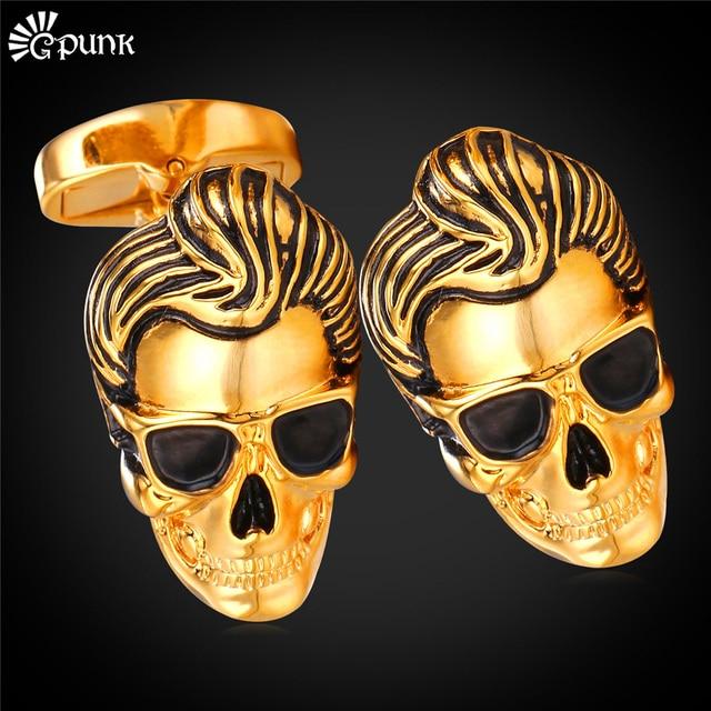 Punk Rock Skeleton Skull Cufflink For Men With Gift Box