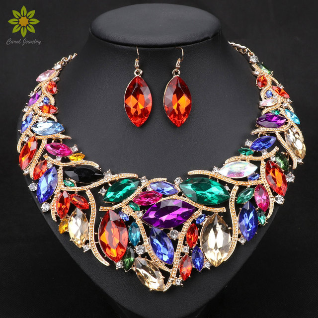 African Beads Promotion Wedding Jewelry Gold Plated Crystal Necklace And Earrings Sets For Women Bridal Jewelry Sets 7Colors