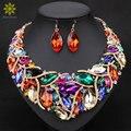 Africano Contas Jóia Do Casamento Promoção Banhado A Ouro de Cristal Colar E Brincos Conjuntos Para As Mulheres Conjuntos De Jóias de Noiva 7 Cores