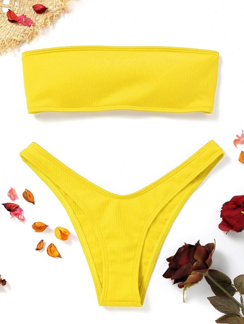 3e711b6f0ec62 Special Offers Women Ribbed High Cut Bandeau Bikini Set Swimwear Women  Swimsuit Strapless Bikini Padded Bathing