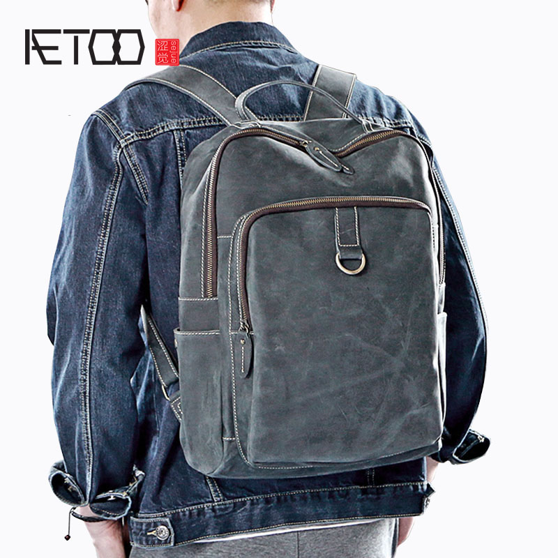 a122046791e6 AETOO 2017 new men crazy horse leather shoulder bag leather large capacity  backpack simple casual men