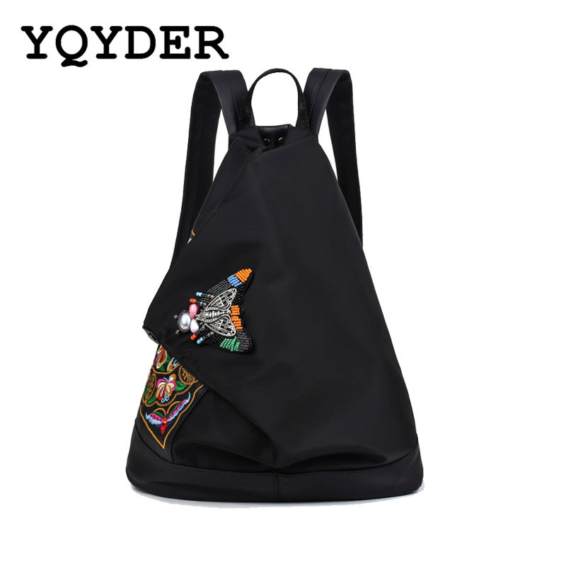 Yqyder National Style Women Embroidered Backpack Vintage Bead Nylon Anti - Theft Shoulder Bag Female Travel Bagpack Mochila Sac