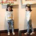 Chifave 2015 Nova Outono Impressão Inverno Quente Meninas Crianças Jeans Mid Cintura elástica Longas Calças Jeans para 3-7 anos de Idade Meninas Crianças