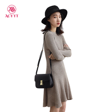 2017 Time-limited Rushed Knee-length Full Solid A-line Acrylic Winter Casual None O-neck Women Dress Robe Office Dress 11