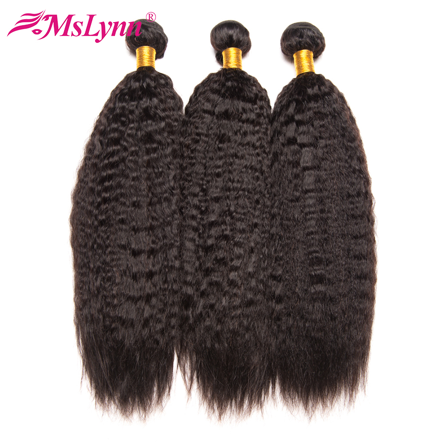 Mslynn Hair Peruvian Kinky Straight Hair 3 Bundle Deals Human Hair Weave Bundles 10-28 Non Remy Hair Extensions Natural Black
