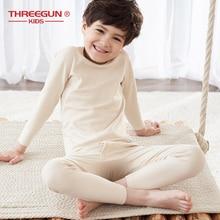 THREEGUN/детское хлопковое мягкое термобелье; Детские подштанники для мальчиков; зимняя однотонная детская одежда; одежда для сна
