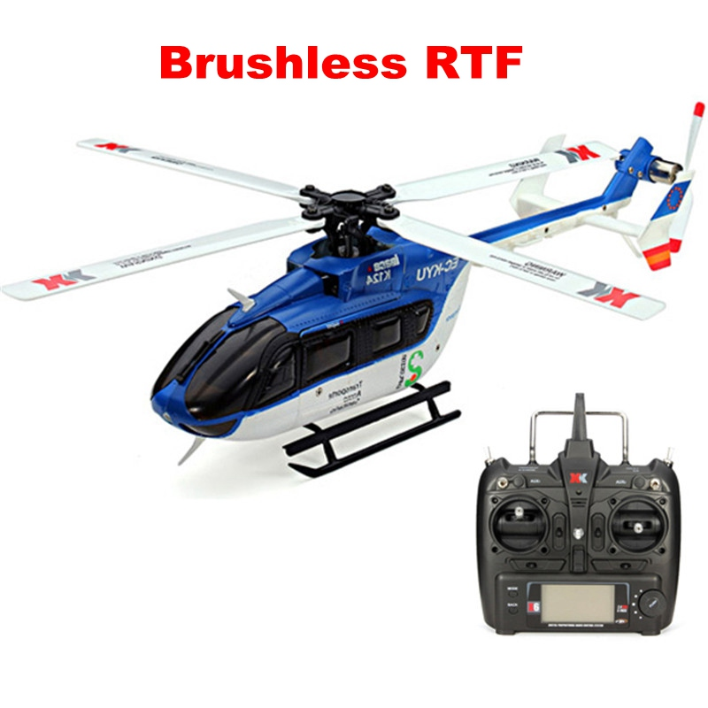 XK K124 6CH Brushless EC145 3D6G System RC Helicopter RTF for Kids Children Remote Control Funny Toys Gift With FUTABA S-FHSS original xk k124 bnf without tranmitter ec145 6ch brushless motor 3d 6g system rc helicopter compatible with futaba s fhss