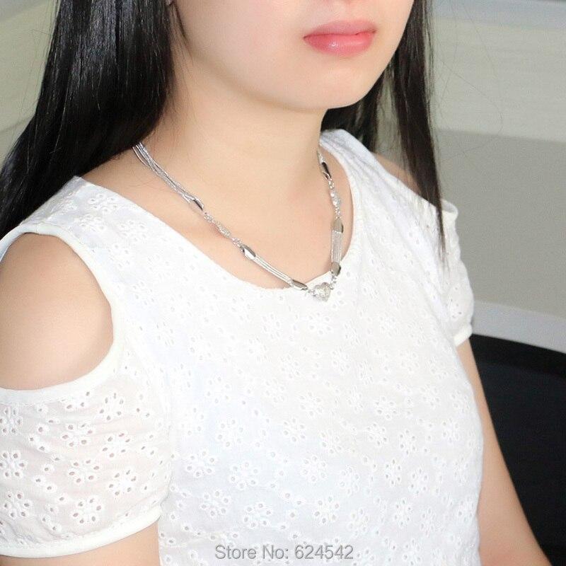 Ren silver Hjärthängen halsband för kvinnor; 925 sterling silver - Fina smycken - Foto 6